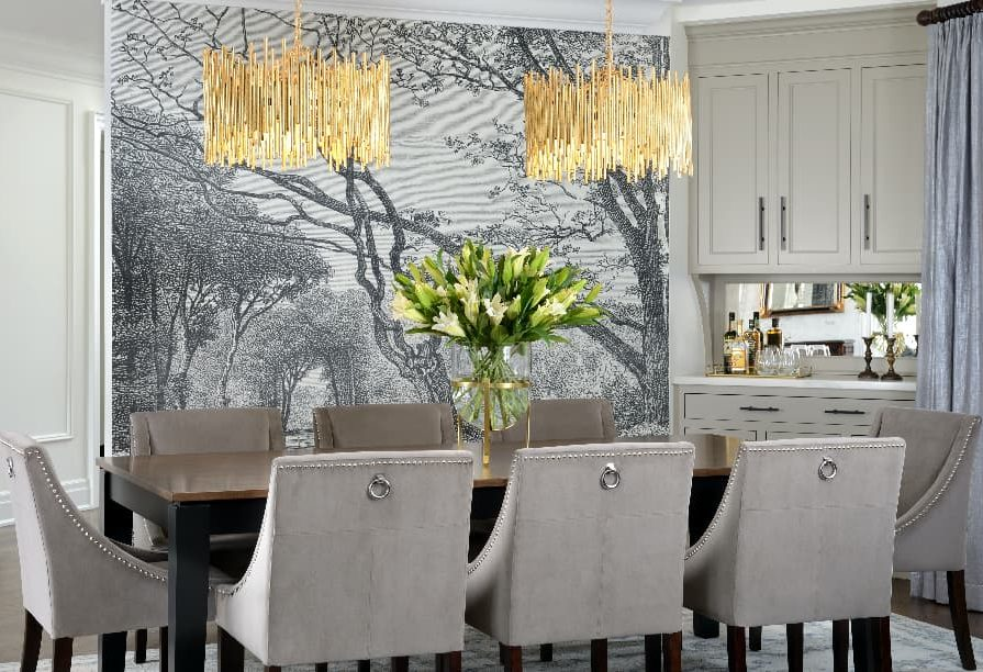amazing dining room with coffered wall decor and custom wall mural