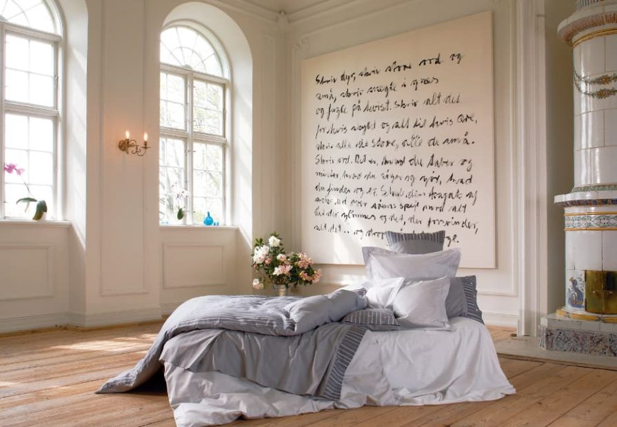 bedroom makeover - luxury bedroom with custom wall mural and old fireplace