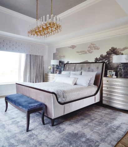 bedroom makeover - luxury bedroom with custom wall cover and floor carpet