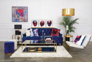 luxury family room with amazing art
