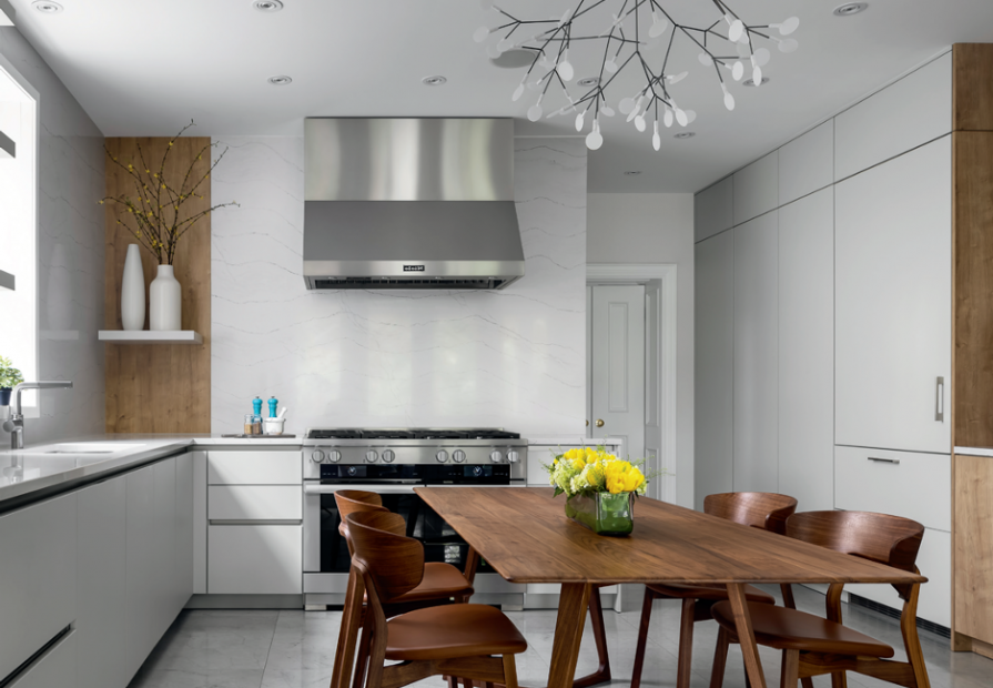 beautiful kitchens- luxury kitchen with ceiling pot lights and white kitchen cabinets