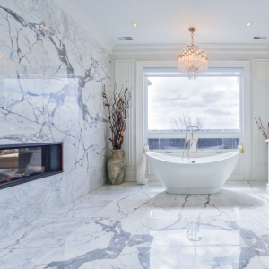 beautiful bathrooms - amazing marble floor and wall decor with build in fire place