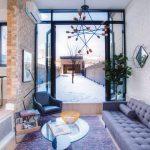 modern family room with patio door