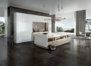 modern kitchen design with wooden floor and high gloss white cabinets