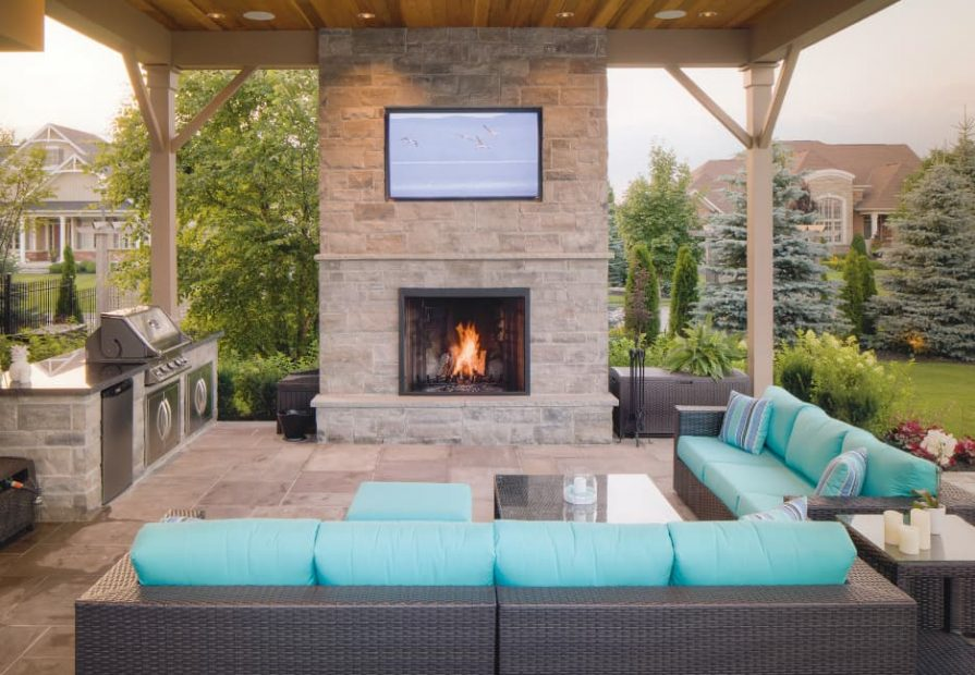 patio design ideas - amazing patio with sofa and build in fireplace