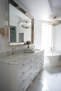 bathroom trends - classic bathroom with double sink and freestanding tub