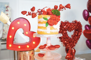 cake and heart prop