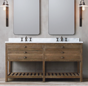 double vanity with two wall mirror
