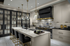 kitchens that never go out of style - amazing kitchen with black cabinets and glass doors and golden trim