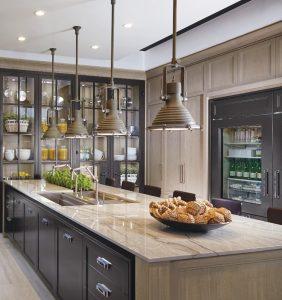 light wood kitchen cabinet and amazing glass storage unit in amazing kitchen