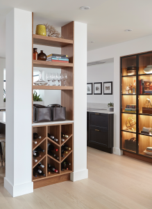 build in storage space and wine shelves