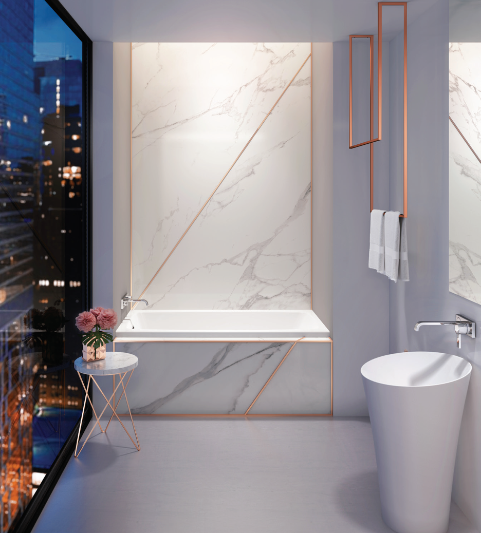 luxury white bathroom with custom wall cover and freestanding sink