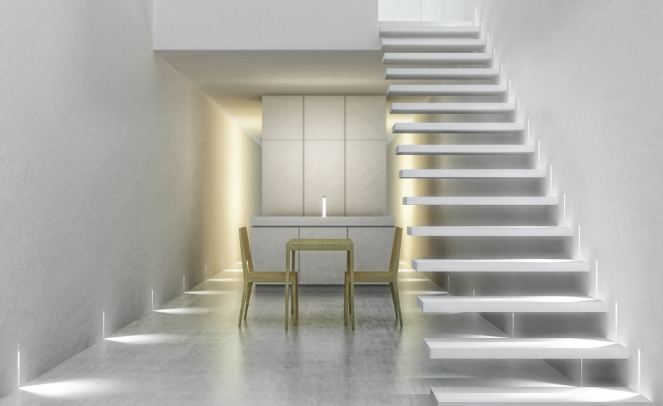 luxury staircase made from concert and back lit cabinets