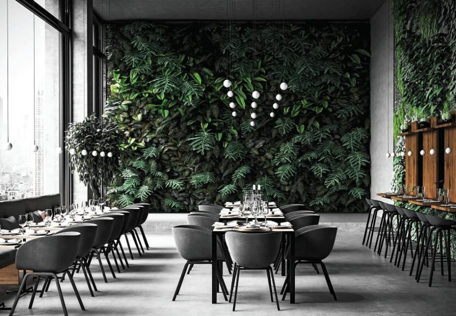 open space dining area with custom wall cover