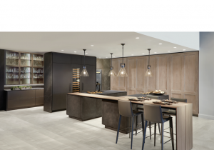 modern kitchen with ceiling potlights and luxury dining table