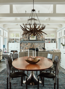 amazing dining room with stone wall decor
