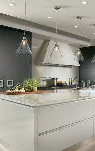 modern kitchen images with gray island and ceiling potlights